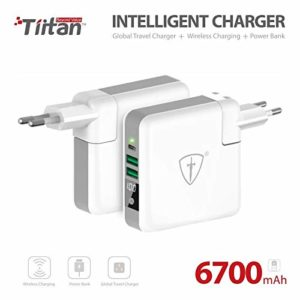 TIITAN Wireless Intelligent Charger,6700 mAh Portable Power Bank Detachable USB Wall Charger Multi-Protection