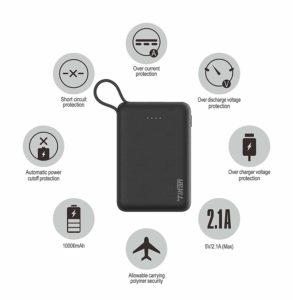 Tiitan 10000mAh Li-Poly with Apple Certified MFi Charging & Syncing Cable for iPhone Power Bank/P15 Handy/Black